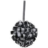 Black & White Buffalo Check Ribbon Ornaments