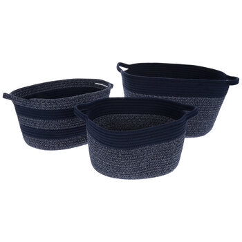 Navy Striped Oval Basket Set