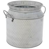 Textured Galvanized Metal Milk Can