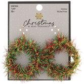 Red & Green Tinsel Wreath Earrings
