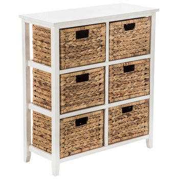 Antique White Wood Cabinet With Baskets