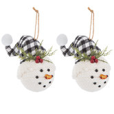 Snowman Head With Plaid Hat Ornaments