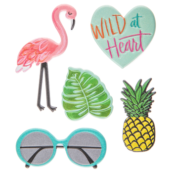 Flamingo & Pineapple Puffy Stickers