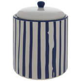 White & Blue Striped Canister