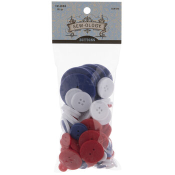 Red, White & Blue Round Buttons
