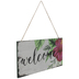 Welcome Hibiscus Wood Wall Decor