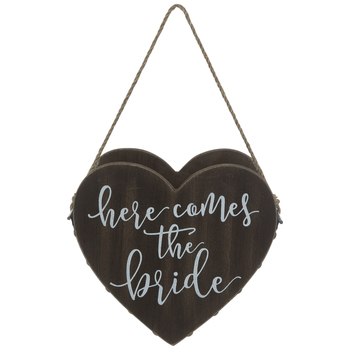 Here Comes The Bride Heart Wood Basket
