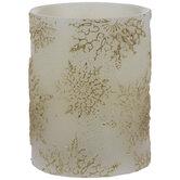 Gold Snowflake LED Pillar Candle