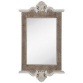 Whitewash Flourish Wood Wall Mirror