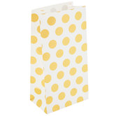 Mini White & Gold Polka Dot Paper Sacks