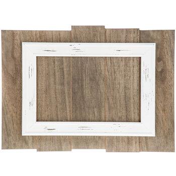 Wood Slat Panel with White Frame