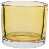 Yellow Glass Candle Holder