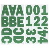 Green Glitter Franklin Uppercase Alphabet Stickers