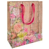 Floral Wood Plank Gift Bag