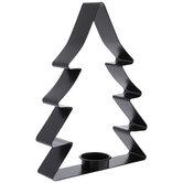 Black Christmas Tree Metal Candle Holder