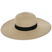 Natural Floppy Hat With Black Ribbon Band
