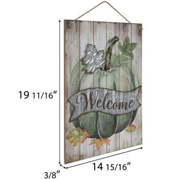 Welcome Pumpkin Wood Wall Decor
