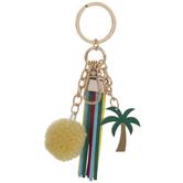 Palm Tree, Tassel, & Pom Pom Keychain