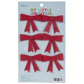 Mini Red Burlap Bow Ornaments