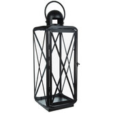 Black Cross Frame Metal Lantern