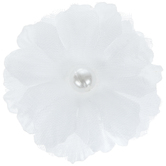 White Satin & Tulle Flowers With Pearls