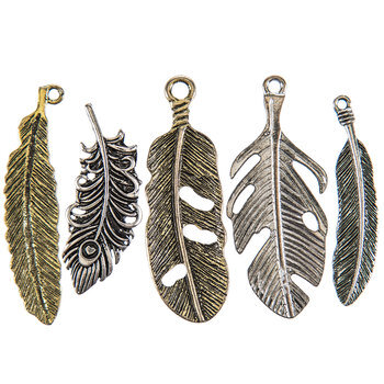 Silver & Gold Metal Feather Charm Embellishments