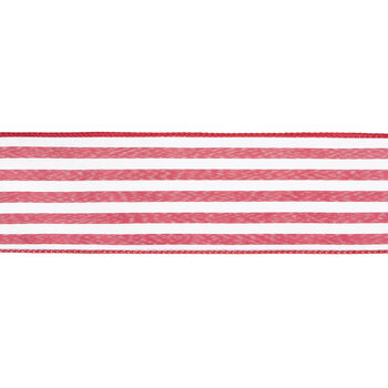 """Red & White Striped Wired Edge Ribbon - 2 1/2"""""""
