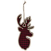 Red Buffalo Check Reindeer Ornaments