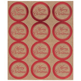 Red Foil Merry Christmas Envelope Seals