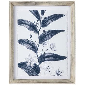 Navy Floral Stem Framed Wall Decor