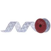 """Blue & Silver Glitter Quatrefoil Single-Face Wired Edge Ribbon - 1 1/2"""""""