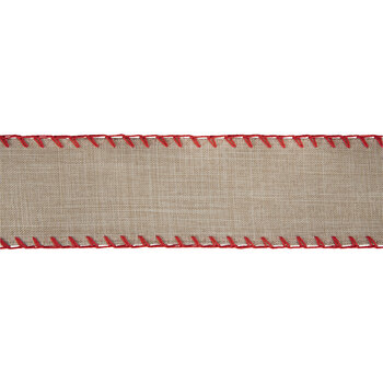 """Natural Stitched Wired Edge Burlap Ribbon - 2 1/2"""""""