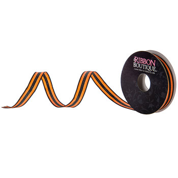 Orange & Black Striped Ribbon - 3/8""