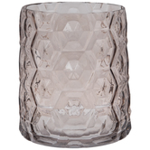 Pink Faceted Hexagon Glass Vase - Large