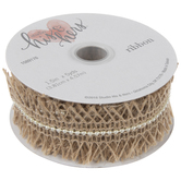 Frayed Burlap Ribbon With Ivory Pearls - 1 1/2""