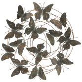 Turquoise & Copper Distressed Butterflies Metal Decor