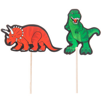 Red & Green Dinosaur Cupcake Toppers