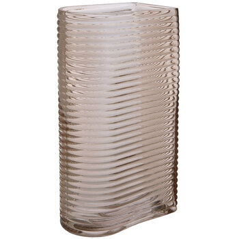 Pink Ribbed Glass Vase