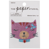 Pink Glitter & Rhinestones Cat Sticker