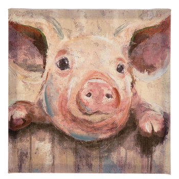 Pig At Fence Painted Canvas Wall Decor