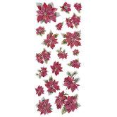 Vintage Poinsettia Glitter Stickers