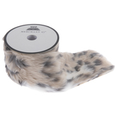 Beige, Brown & Gray Spotted Faux Fur Trim