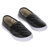 Black Quilted Youth Sneakers - Size 11/12