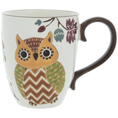 Orange & Brown Owl Textured Mug