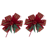 Red & Green Striped Bell Bows