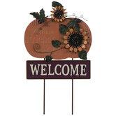 Welcome Pumpkin Metal Garden Stake