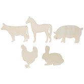 Farm Animal Wood Shapes