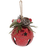 Red Starry Glitter Jingle Bell Ornaments