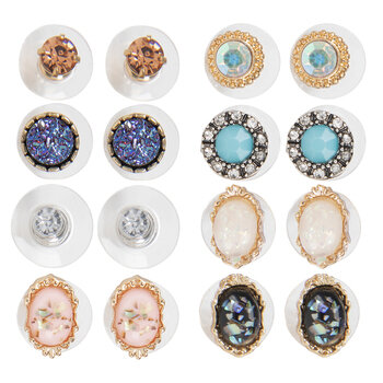 Rhinestone & Cabochon Earrings