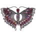 Plated Hematite Art Deco Butterfly Rhinestone Brooch